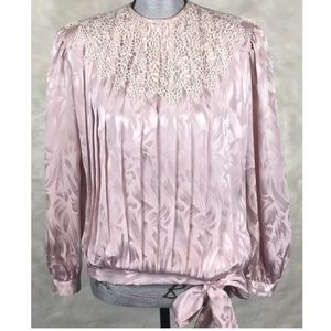 Vintage 80s Blouse Pleated Lace Tie Waist Party